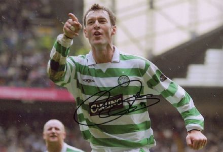 Chris Sutton, Glasgow Celtic, signed 12x8 inch photo. (2)